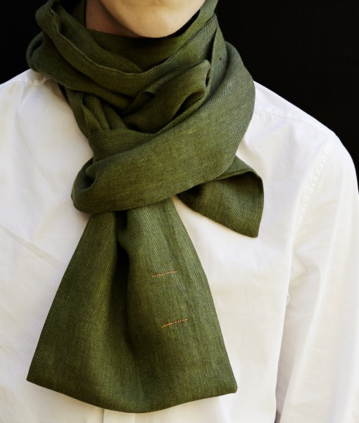 STABLE RICH GREEN HERRINGBONE DOUBLE LONG LINEN