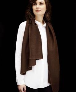 STABLE Rich Brown Irish Fine Weave Wool Scarf