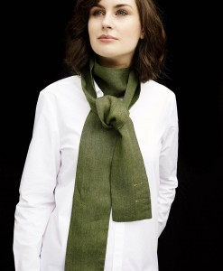STABLE Rich Green Irish Linen Ultra Skinny Scarf