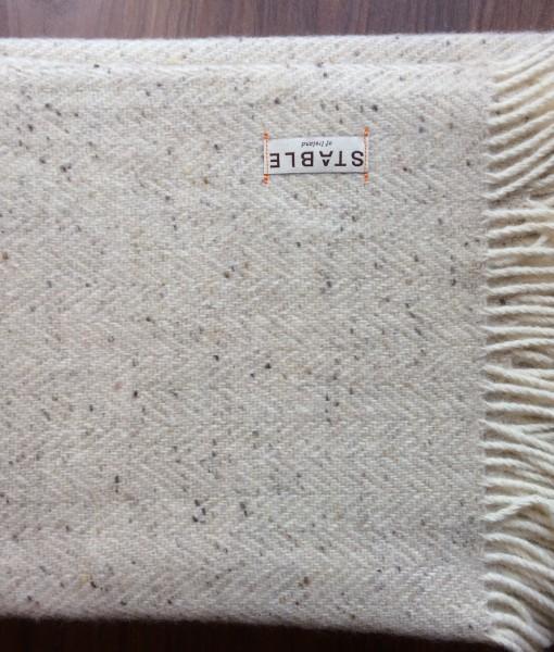 Irish Handwoven Herringbone Buttermilk  Blanket