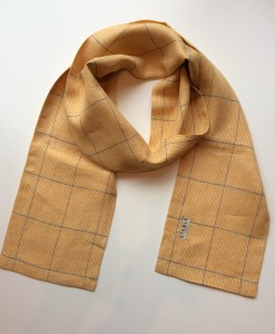 STABLE Yellow Check with grey Stripe Irish Linen Skinny Scarf