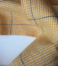 STABLE Yellow Check with Grey Stripe Irish Linen Scarf detail