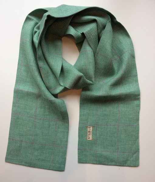 STABLE Green check with blue stripe Irish Linen Skinny Scarf