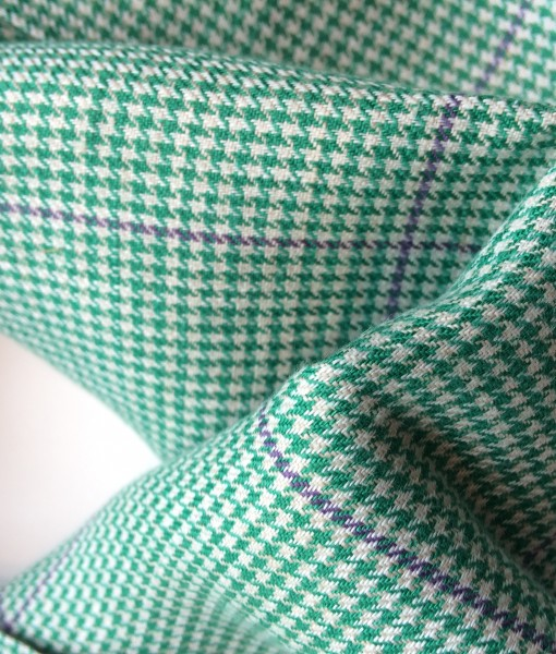 STABLE Green small Check with blue Stripe Irish Linen Scarf Detail