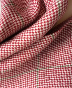 STABLE Red with Green Stripe Irish Linen Scarf Detail
