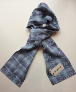 STABLE Blue Muti Check Irish Linen Skinny Scarf