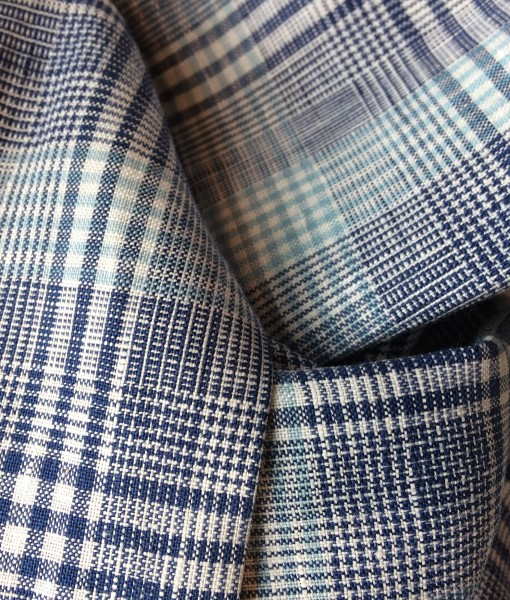 STABLE Blue Multi Check Irish Linen Scarf Detail