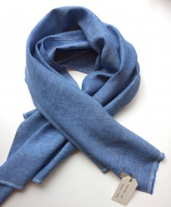 STABLE Blue Irish Linen Single Large Scarf
