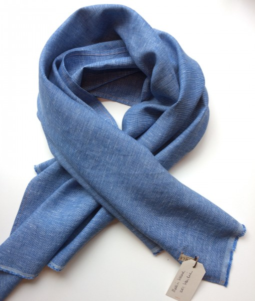 STABLE Blue Irish Linen Single Large Scarf