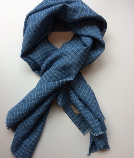 STABLE small Blue Check Irish Linen Single Large Scarf