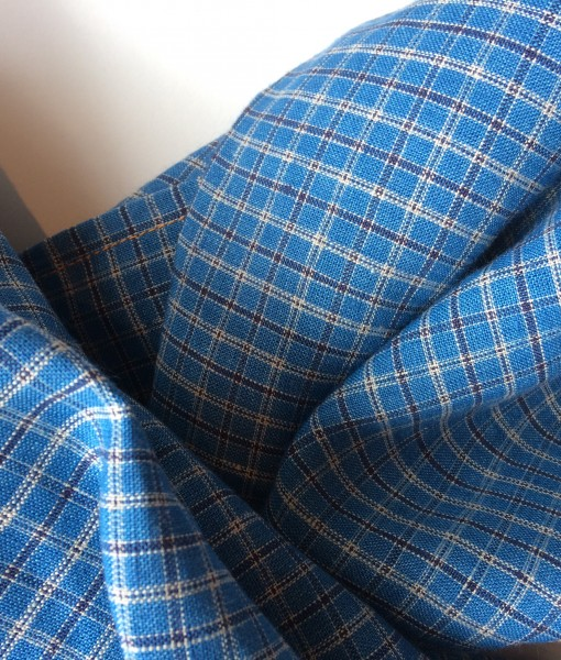 STABLE small Blue Check Irish Linen Scarf Detail