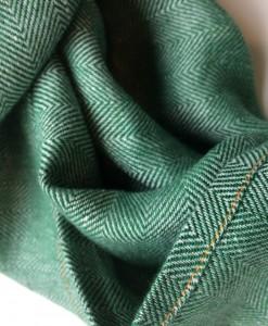 STABLE Green Herringbone Irish Linen Scarf Detail