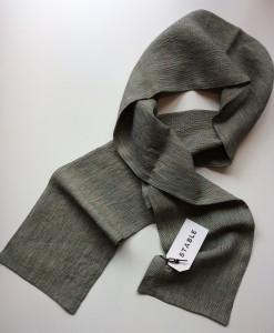 STABLE SKINNY KHAKI Check Irish Linen Scarf