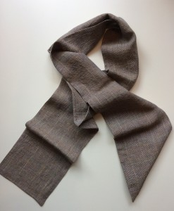 STABLE Warm Brown Irish Linen Skinny Scarf