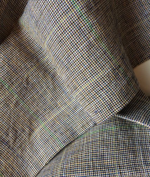 Warm Brown Check Irish Linen
